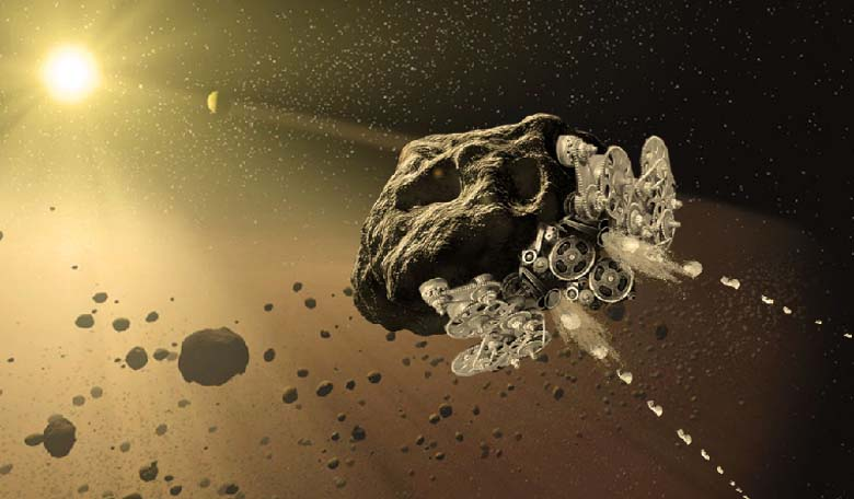 An artists impression of one of the projects to convert entire asteroids into enormous autonomous mechanical spacecraft, accepted for the NASA Innovative Advanced Concepts (NIAC) program. Image Credit: NASA