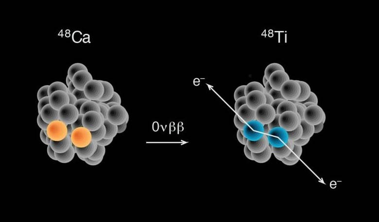 In the neutrinoless double-beta decay of calcium-48 into titanium-48, two neutrons are lost, two protons are gained and two electrons are emitted. Neutrinos do not appear but form an