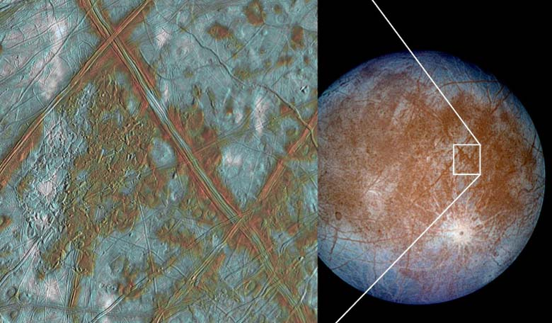 An insight into heat dissipation through ice boundaries could help scientists model the thickness of Europa's icy shell. Image Credit: NASA/JPL