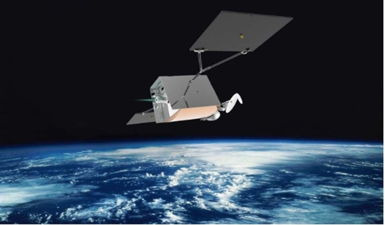 Artist's concept of a OneWeb satellite in orbit with an electric thruster. Image credit: OneWeb