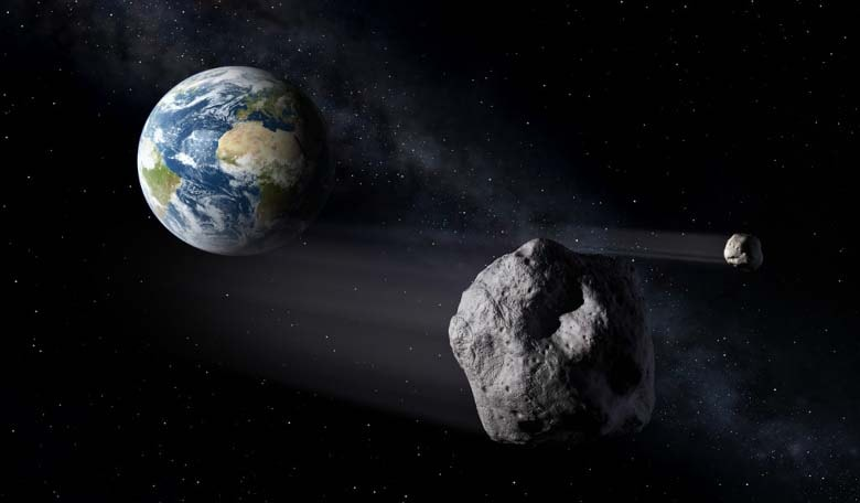 Artist's impression of a Near-Earth Asteroid passing by Earth. Image credit: ESA