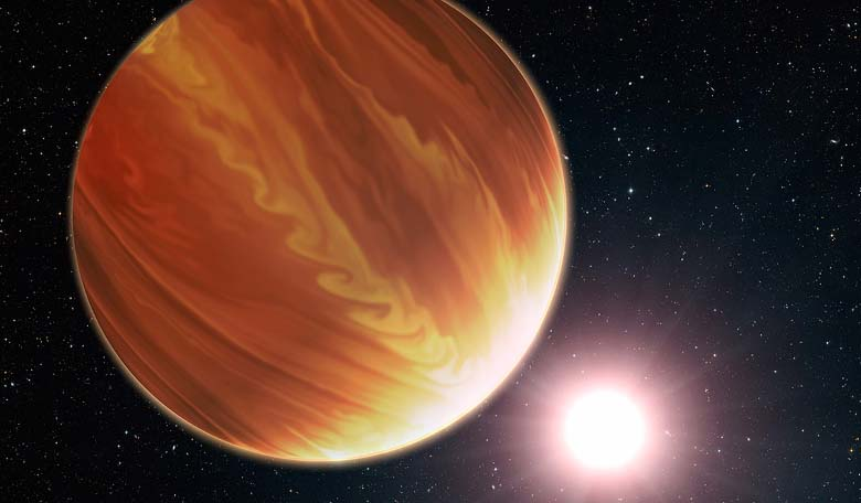 An artists illustration of an exoplanet irradiated by its host star. Image Credit:  NASA, ESA, and G. Bacon (STScI)