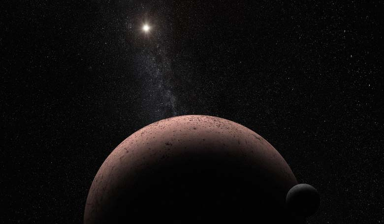 This artist's concept shows the distant dwarf planet Makemake and its newly discovered moon, nicknamed MK 2. Image credit: NASA, ESA, and A. Parker (Southwest Research Institute)