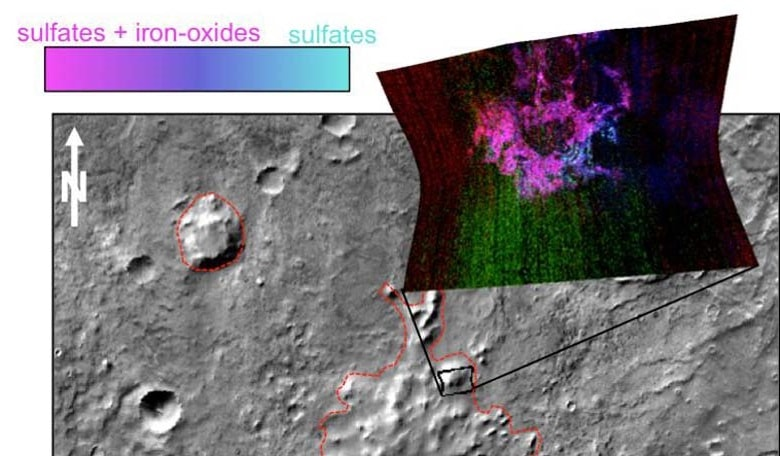 Minerals identified on Mars's surface indicating where a volcano has erupted beneath an ice sheet (sulphates are blue and iron oxides are pink). Image credit: NASA/JPL-Caltech/JHUAPL/ASU