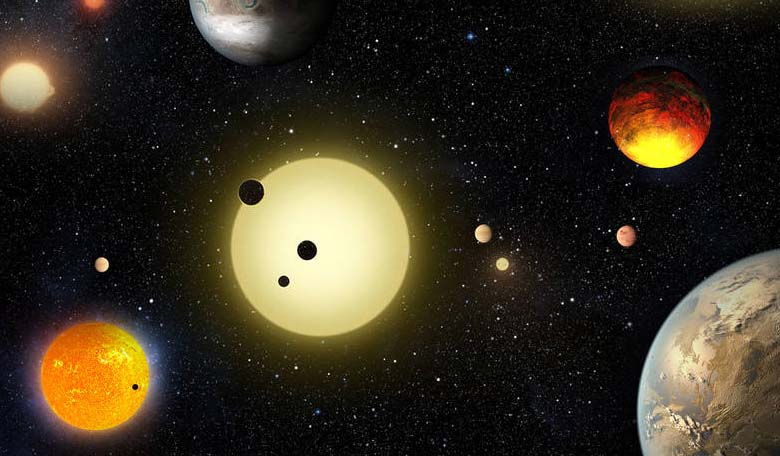 This artist's concept depicts select planetary discoveries made to date by NASA's Kepler space telescope. Image Credits: NASA/W. Stenzel