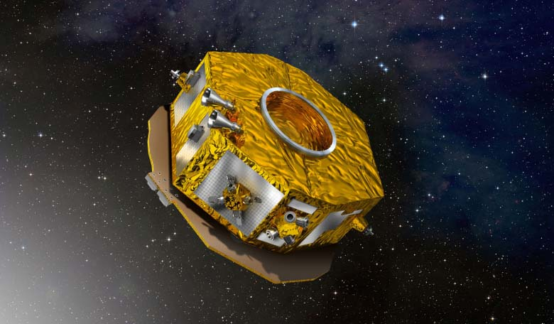 An artists impression of the LISA Pathfinder mission in space. Image: ESA