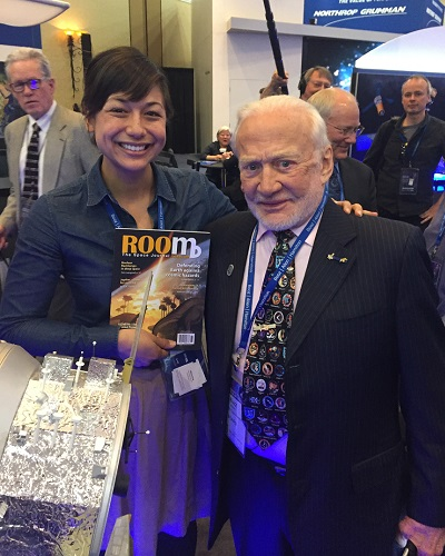 ROOM'S Tiffany Chow with US astronaut Buzz Aldrin