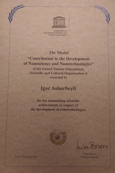 For contribution to the development of nanoscience and nanotechnologies Medal Diploma