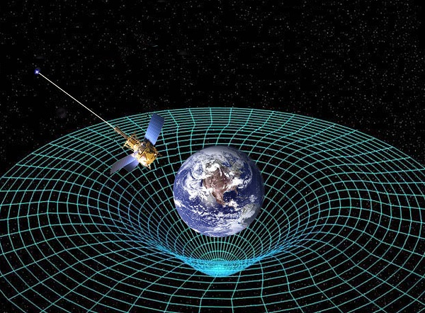 Two-dimensional illustration of how mass in the Universe distorts space-time. Image credit: NASA