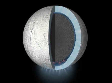 An artist's rendering showing a cutaway view into the interior of Saturn's moon Enceladus, suggested to have a global ocean and likely hydrothermal activity. A plume of ice particles, water vapour and organic molecules sprays from fractures in the moon's south polar region.