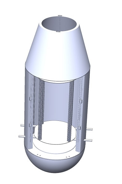 Drop capsule with inner capsule inside of drag shield; battery and electronics inside nose cone