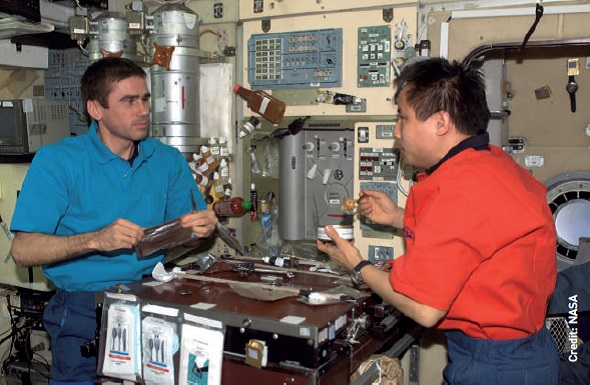 Expedition 7 Commander Yuri Malenchenko (left) and Science Officer Ed Lu pictured in the ISS galley, with utensil packs attached to the table and floating condiment bottles.
