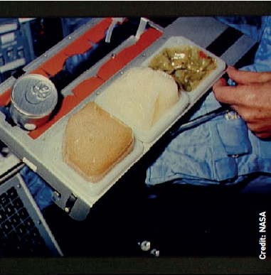 Above right: 'Meal A' for a Gemini mission of the mid 1960s: hand wipe and food cubes are on the right and fruit juice is in the centre.