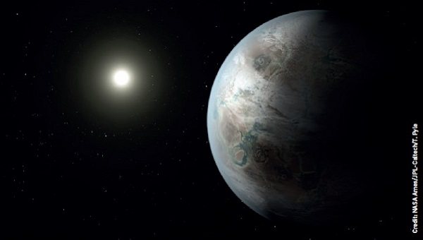 This artist's impression depicts one possible appearance of the planet Kepler-452b, the first near-Earth-size world to be found in the habitable zone of a star that is similar to our Sun.