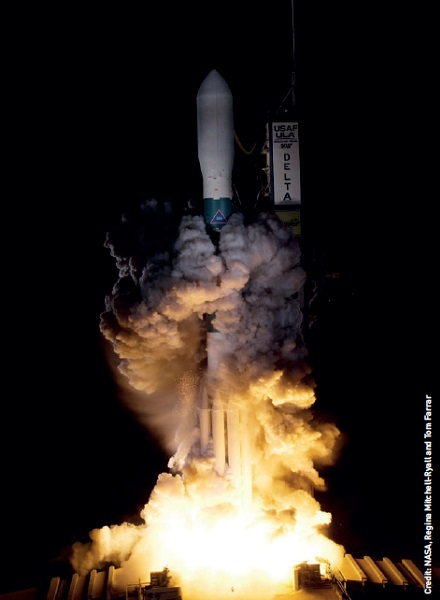 The Delta II rocket carrying NASA's Kepler spacecraft blasts off from Launch Pad 17-B at Cape Canaveral Air Force Station in Florida at 10:49 p.m. EST on 6 March 2009.