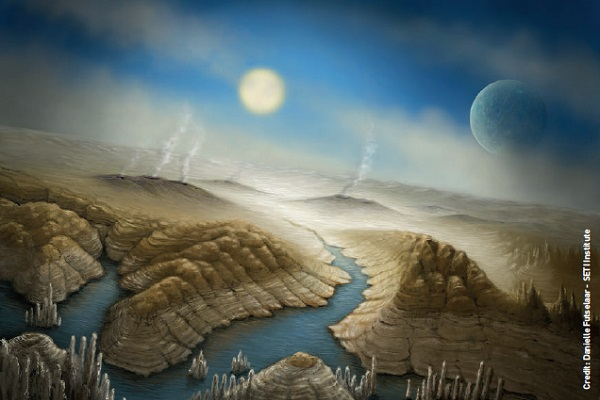 An artist's impression of the surface of Kepler-452b. With a radius 60% larger than Earth, the planet has a better than even chance of having a rocky composition, and is likely to have a thick atmosphere and a significant amount of water.