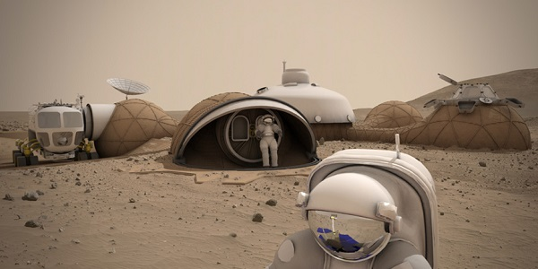 LavaHive is a modular structure for Mars, with central crew quarters connected to 3D-printed sub-habitats