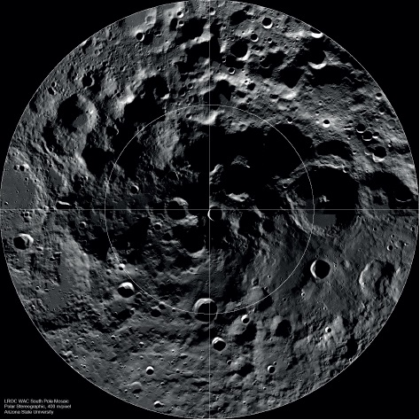 The Moon's south pole, as observed by Lunar Reconnaissance Orbiter – a good place to set up camp?