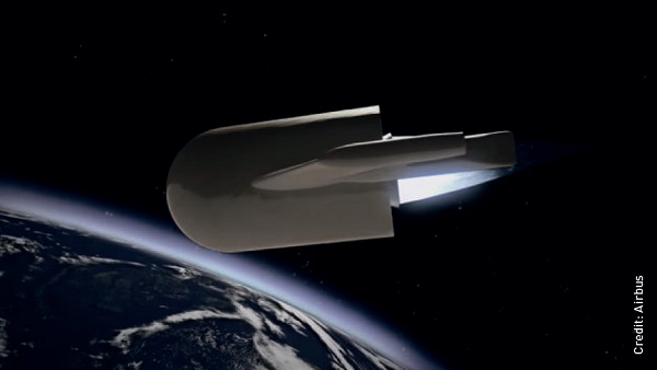 Adeline is an Airbus concept for a partially resuable spacecraft – the main engine has wings to fly home