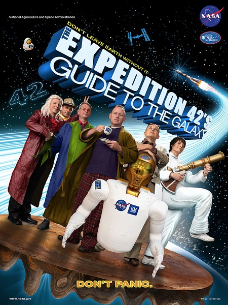 The Expedition 42 crew highlights its link to the 'Hitchhiker's Guide to the Galaxy