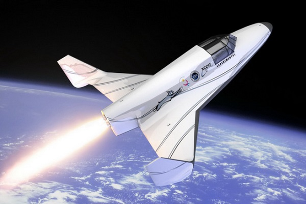 Artist impression of XCOR Lynx in orbit