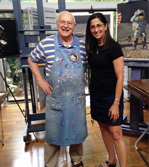 "Right: Fellow artist astronauts Alan Bean and Nicole Stott. Bean, a veteran of Apollo 12 and Skylab, told Nicole he was ""delighted"" that she had become the first astronaut of the Space Shuttle/Space Station era to choose art as her next step in life"