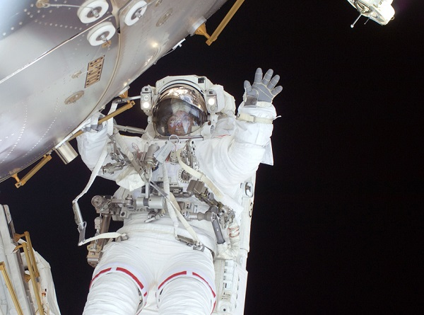 Nicole Stott during her EVA in 2009 on the STS-128 Space Shuttle mission in support of assembly of the International Space Station