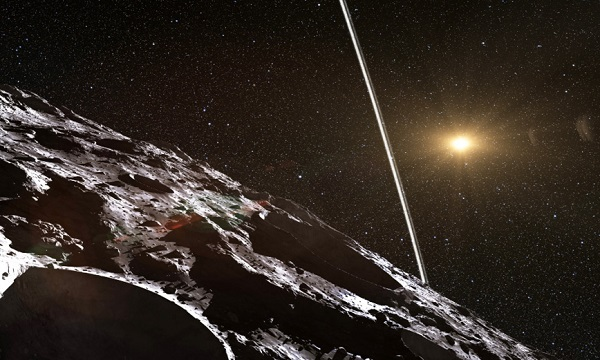 Artist's conception of the view from the surface of Centaur object 10199 Chariklo that orbits between Saturn and Uranus