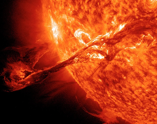 A long filament erupted on the Sun on 31 August 2012 and was imaged by NASA's Solar Dynamics Observatory (SDO)