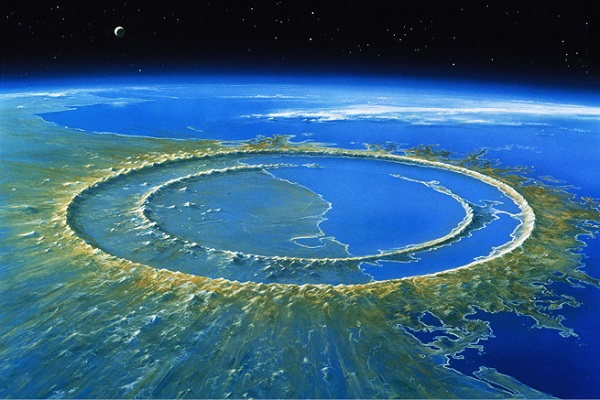 The 180 km diameter Meteor Crater on the Yucatan
