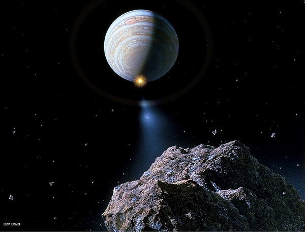 Artist's depiction of the train of fragments of comet Shoemaker-Levy 9 during its impact with Jupiter