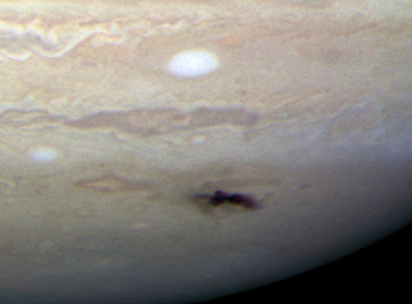 Hubble Space Telescope image of the blemish on the surface of Jupiter from the impact in 2009