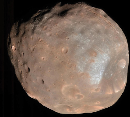 The Martian moon Phobos, taken with the HiRISE instrument aboard the Mars Reconnaissance Orbiter (MRO)