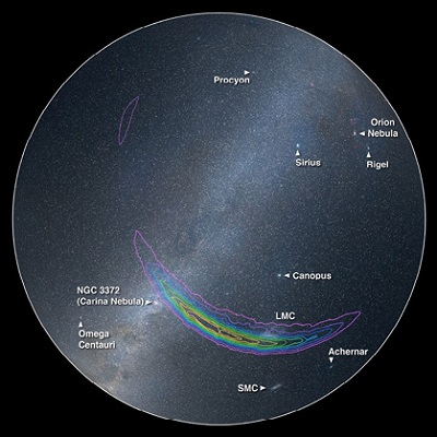 Figure 5: The southern hemisphere where the signal originated from at the time of the event. The position of GW150914 is highlighted by the different colour contours: the highest probability starts in purple and decreases to yellow as the restricted area becomes smaller. A number of common objects in the sky are shown for comparison, with the Sun rising and the Milky Way diagonally from NW to SE. Shane Larson, Northwestern University; Roy Williams, Caltech; Thomas Boch, CDS Strasbourg