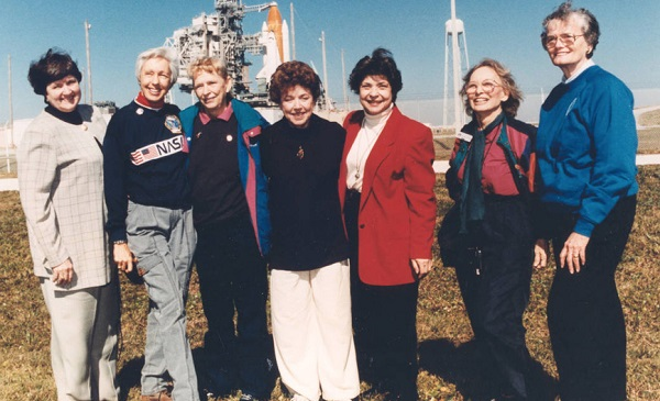 Surviving members of the original Mercury 13 on a Kennedy Space Center visit to witness a Space Shuttle launch - though they were not given the chance to become astronauts and the United States would not launch a woman into space until 1983, these women proved women were physically and mentally qualified for space travel.