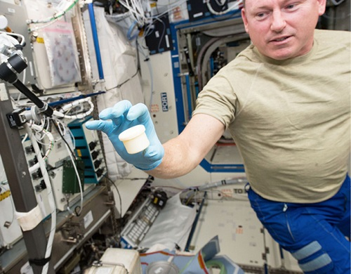 Space Station astronaut Barry Wilmore holds a science sample container that took two hours to make with a 3D printer. The container was the first object to be printed with two parts: a lid and a container. NASA wants to make science equipment in space, rather than launching it