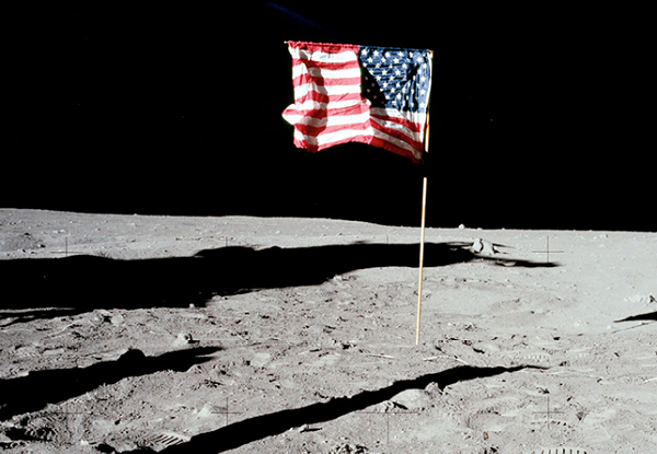 No country can claim any land in space. Everything in space counts as international 'waters