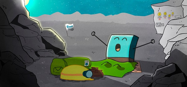 Without enough sunlight to keep him powered, Philae 'fell asleep' after about 60 hours of operation. Here he is waking up after seven months' rest in a shady spot on Comet 67P