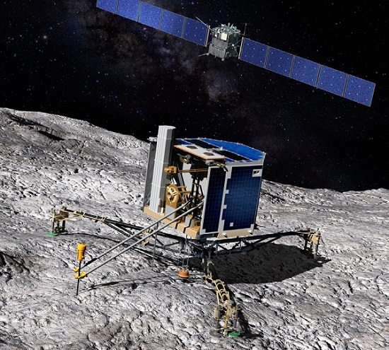 Artist's impression showing Philae on the comet's service and Rosetta