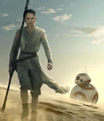 Rey and BB-8 droid in Star Wars: The Force Awakens