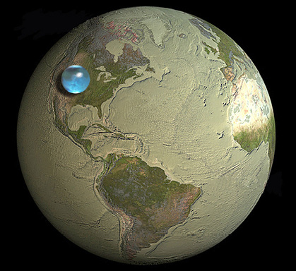 The volume of Earth's water in comparison to the volume of the world