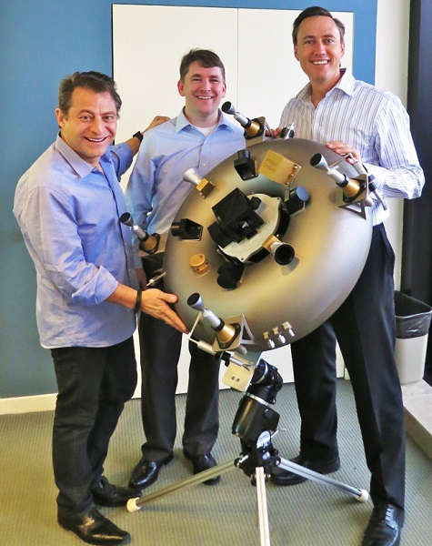 Peter Diamandis, Chris Lewicki and Steve Jurvetson of Planetary Resources unveiling their 3D Printed satellite in February 2014