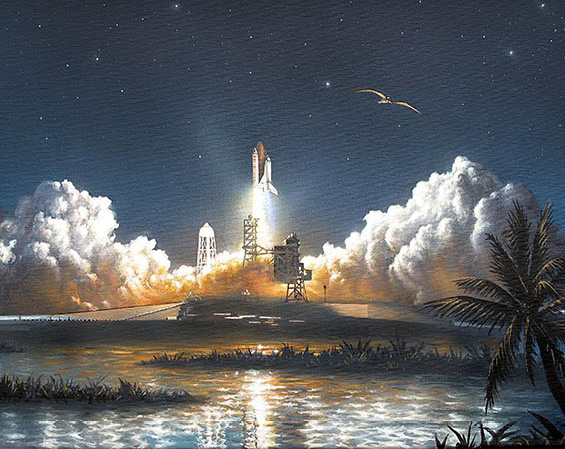 Night launch of Discovery (Acrylics, 1995) a private commission
